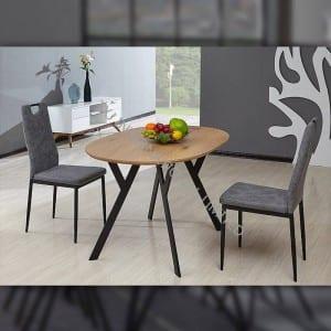 TD-1756 MDF Dining Table, Oak paper veneer, oval shape