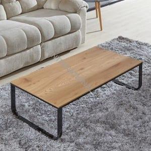 BT-1737 Cheap MDF Coffee Table With Oak Paper Veneer Metal Leg