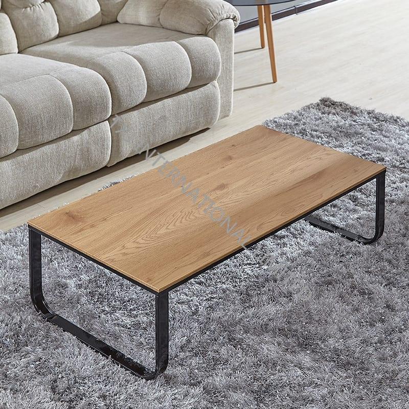 BT-1737 MDF Coffee Table With Oak Paper Veneer Metal Leg Featured Image