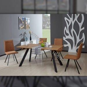 TD-1752 MDF Dining Table, Oak paper veneer, Different Metal Frame