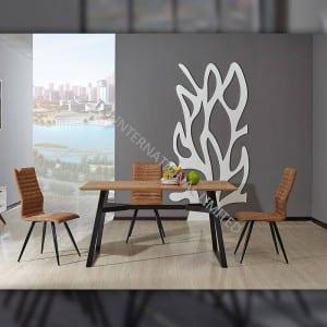 TD-1753 MDF Dining Table, Oak paper veneer, Different Metal Frame