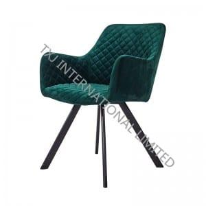 TC-1785-V Velvet Dining Arm Chair With Black Frame
