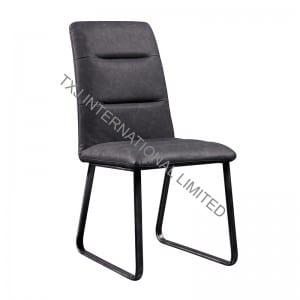 AUSTIN Vintage PU Dining Chair With Black Metal Frame